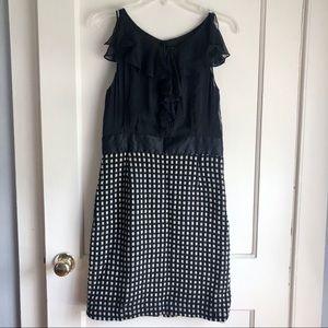 Milly of NY Black and Gold Sleeveless Sheer Dress